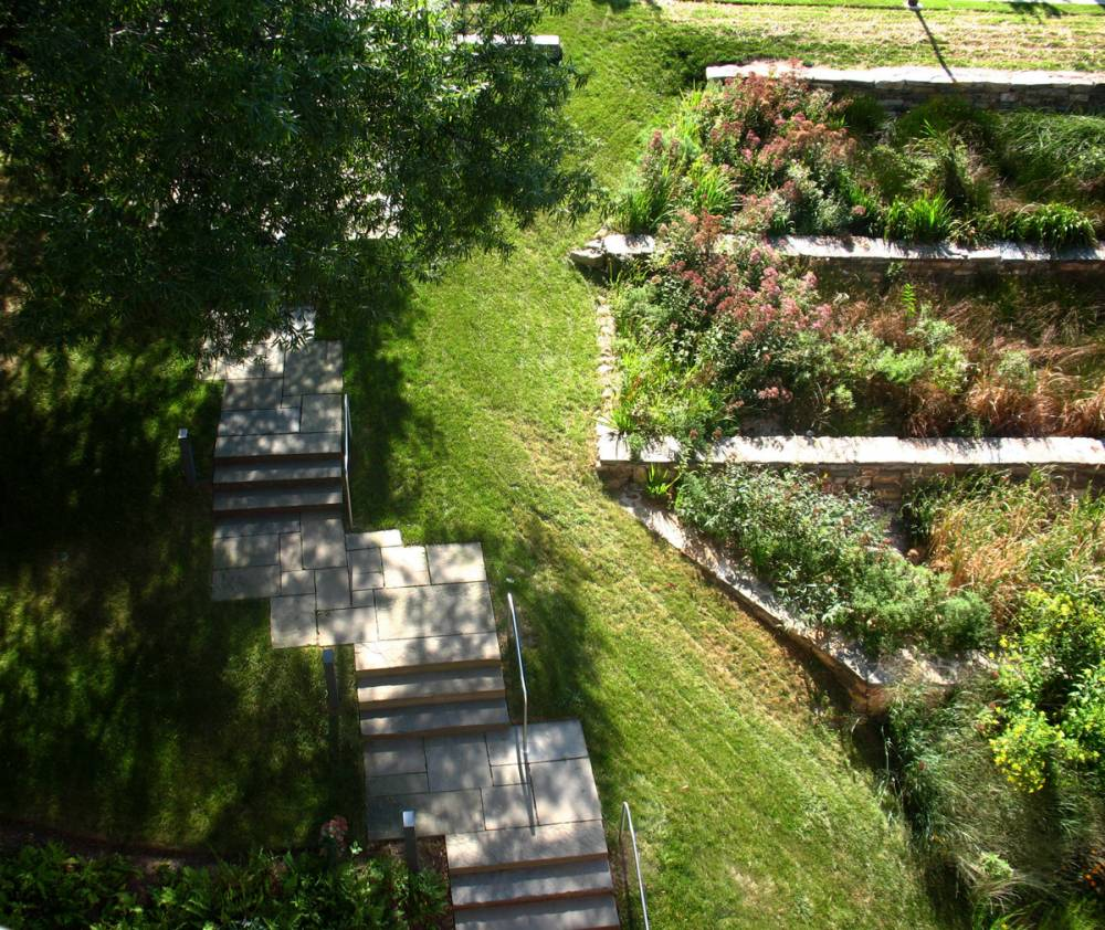 Aerial view of steps and garden