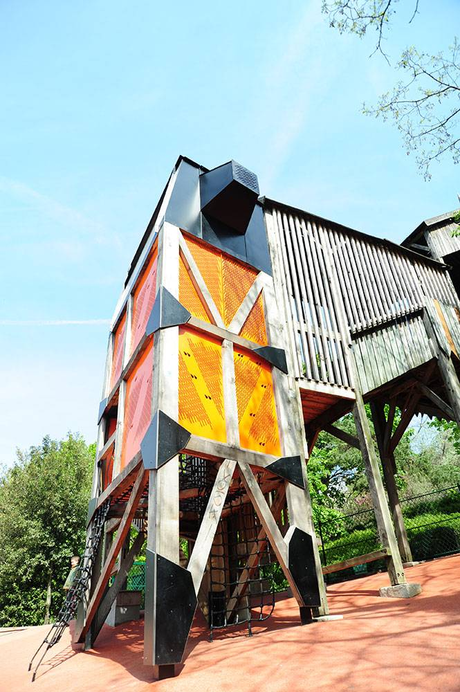 View of play tower with perforated panels