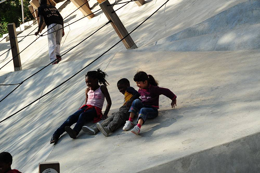 Kids playing on concrete terraces