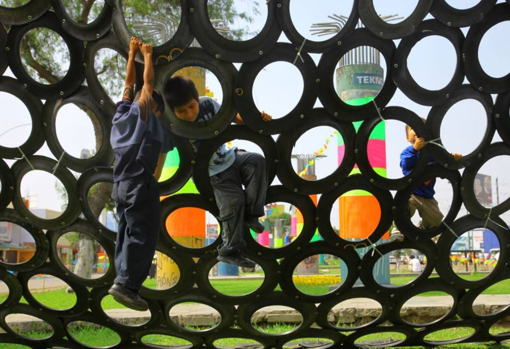 Climbing on recycled tire wall