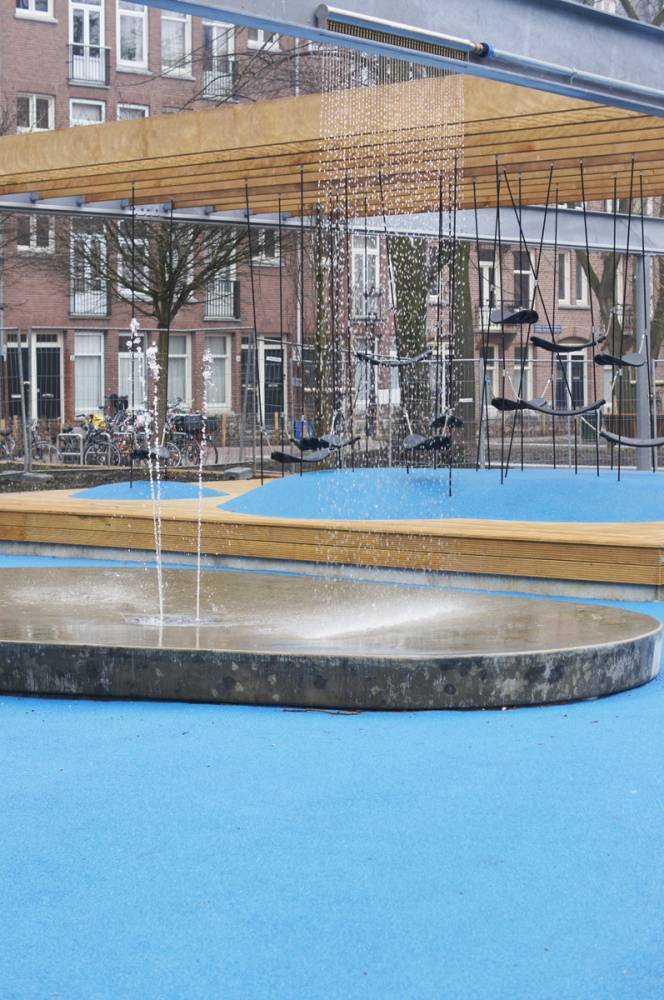 Water features incorporated into the playground