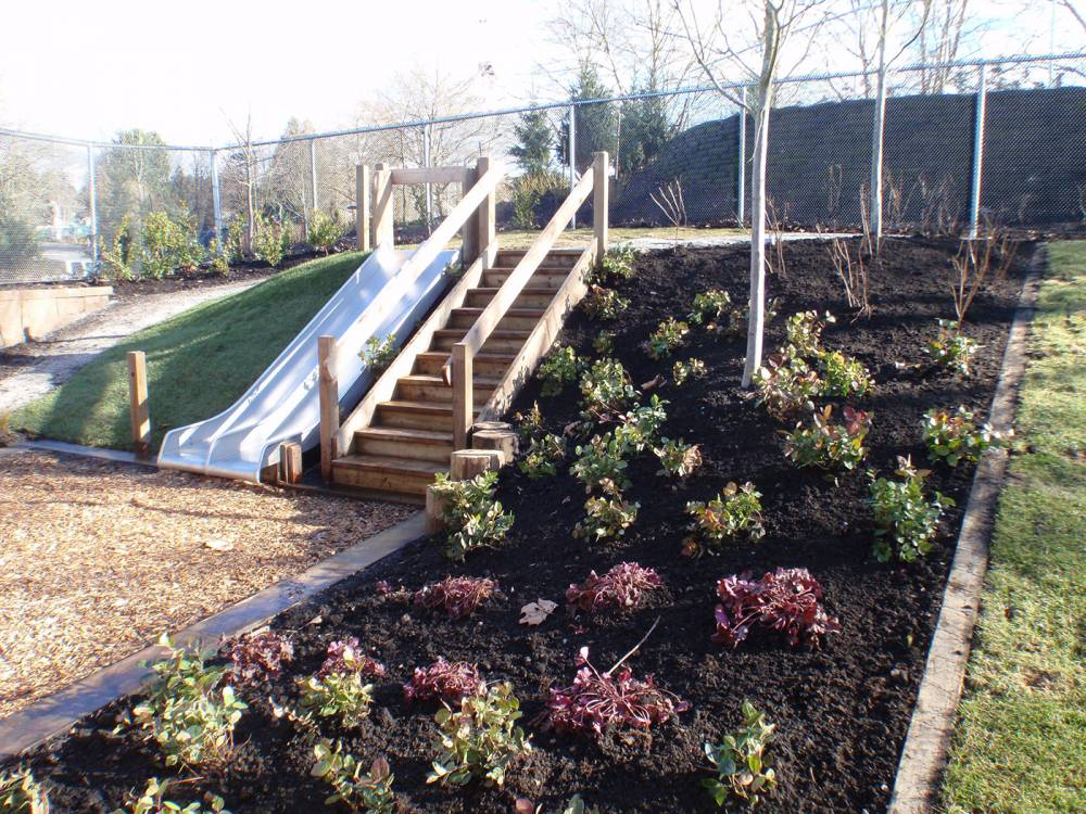 Planted slope beside a slide