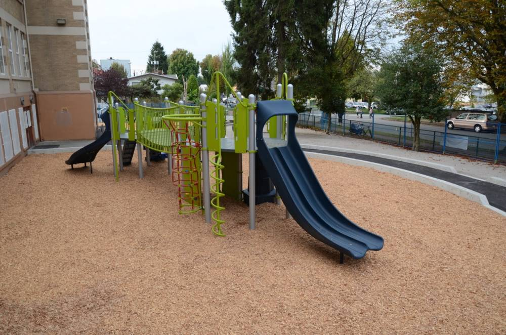 Play equipment installed in mulch