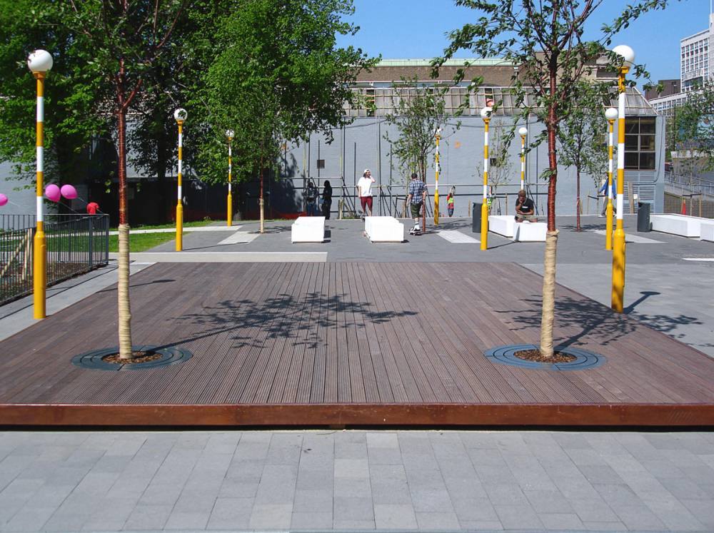 Wood deck area with integrated trees
