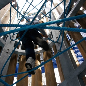 Climbing ropes inside a tower