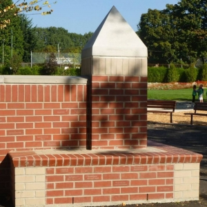 Wall with inscribed legacy bricks