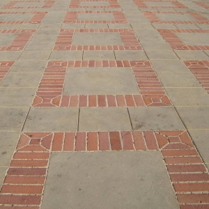 Brick and concrete paving pattern at UCLA
