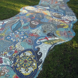 Glass mosaic path