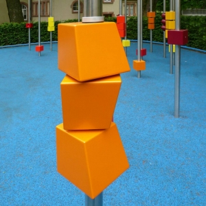Plastic blocks at playground for the blind and visually impaired