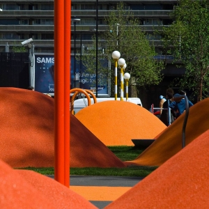 Orange poured rubber mounds