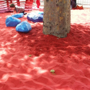 Red sand with blue rocks