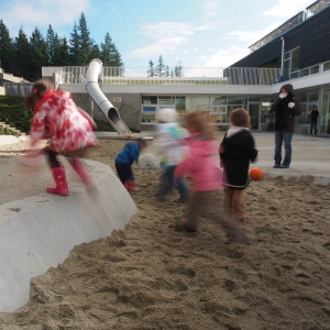 Playing in a sand pit