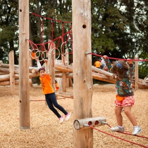 Whole logs make strong and durable play structures