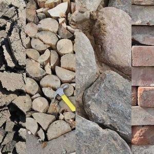 Recycled asphalt, wood, stones, and bricks