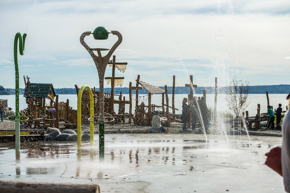 View of the ocean from the splash pad