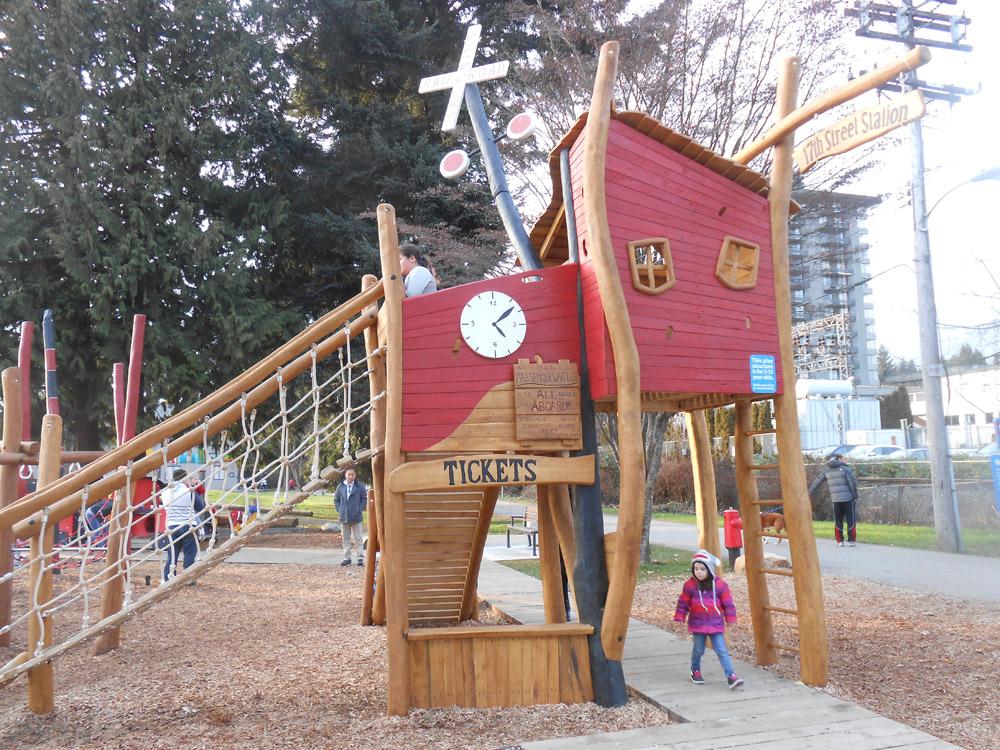 A whimsical wood train station