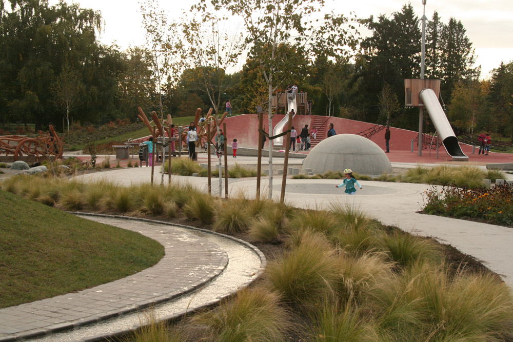 Overview of park looking toward slides