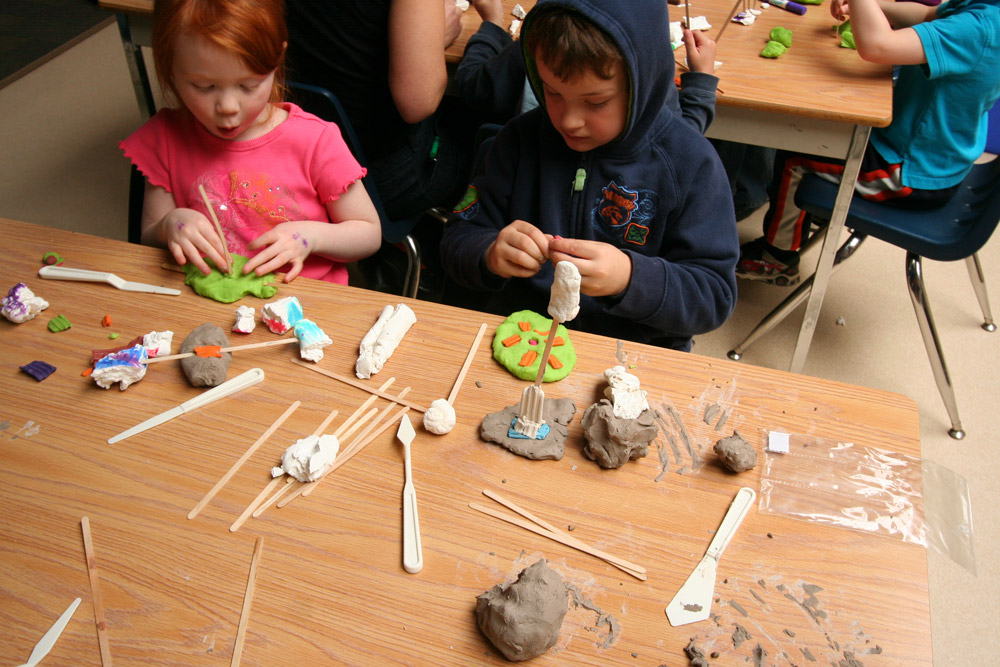 Children build their own models during the consultation process