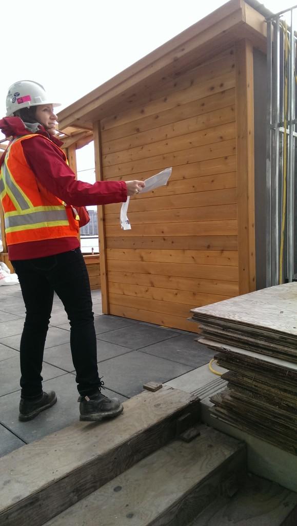 Landscape architect Karin England conducting a site visit (Image: Joelle Sept)