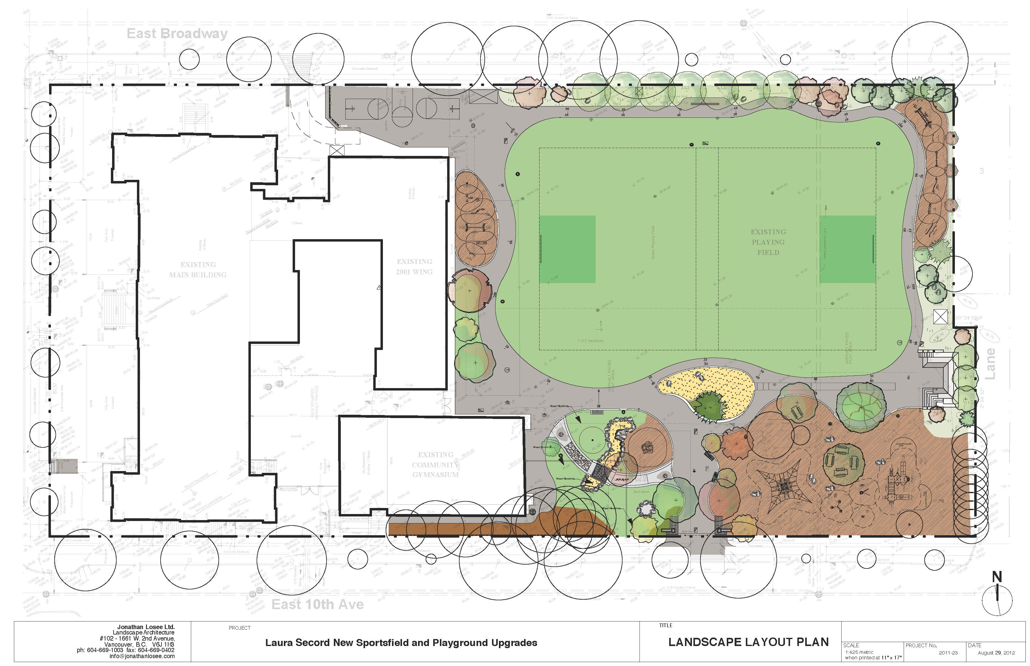 Layout plan for Laura Secord Elementary School, Vancouver (Image: Jonathan Losee Ltd. Landscape Architecture)