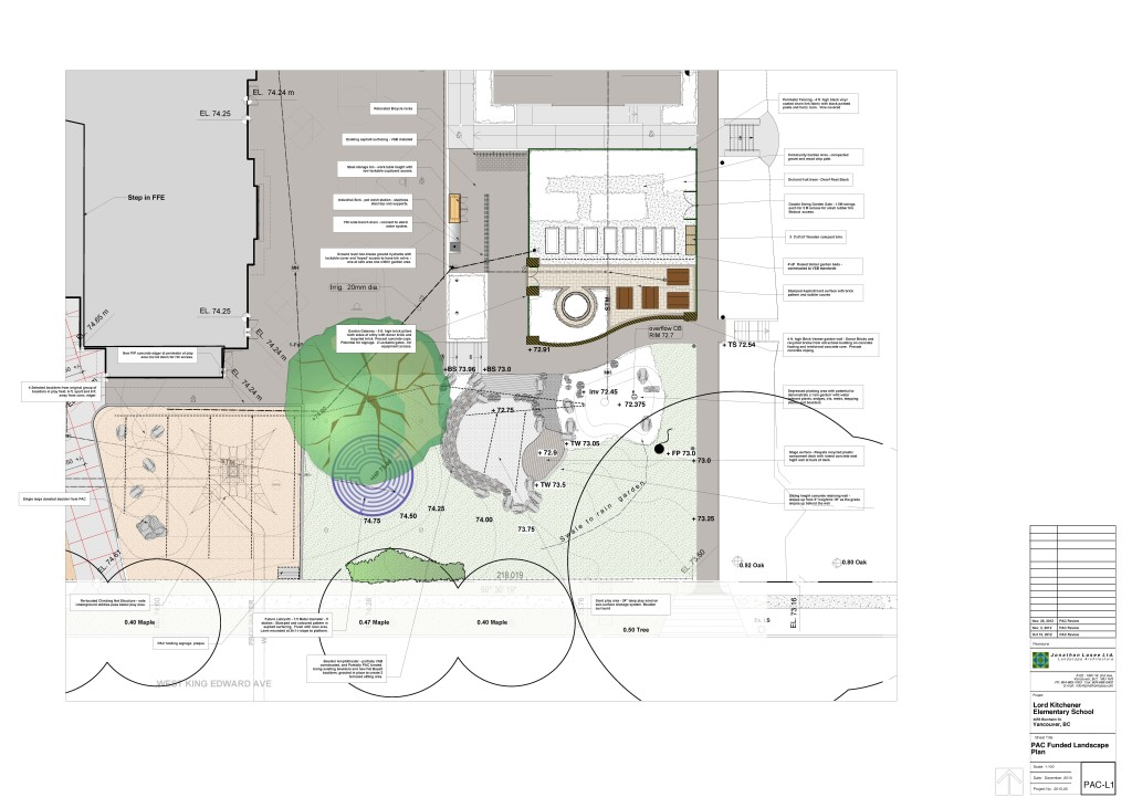 Plan drawing for Lord Kitchener Elementary School, Vancouver (Image: Jonathan Losee Ltd. Landscape Architecture)