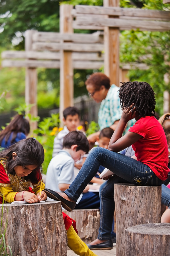 An informal outdoor classroom at a Boston elementary school